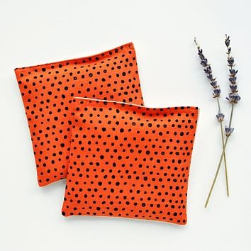 Organic Lavender Sachets in Dots Orange - Set of 2