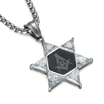 Freemason Crystal Star of David Pendant Necklace