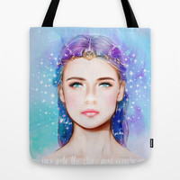 Look up into the stars and you're gone. Tote Bag by Sara Eshak