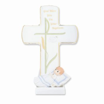 Precious Moments God Bless Your Baptism Boy Porcelain Figurine