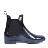 Yab Dottie-1 Easy Slip On Ankle Bootie Rain Boots in Black @ yabshop.com