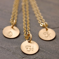 Gold Disc Necklace Set of 2 to 10 - bridesmaid gift set, initial necklace, personalized jewelry, gold disk necklace, bridal jewelry, BR