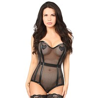 Daisy Corsets Top Drawer Steel Boned Fishnet Corseted Bodysuit
