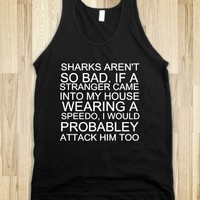 Shark Attack Stranger-Unisex Black Tank