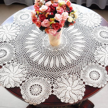 Sale vintage look crocheted  tablecloth  36 Inches Round