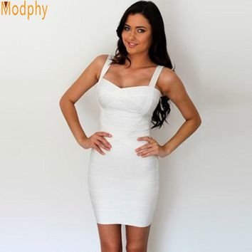 Women sexy bandage dress summer front crosses 8 solid colors spaghetti strap stretch bodycon party ball dress dropship MD8675