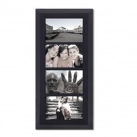"""Adeco Decorative Black Wood Divided, Wall Hanging Picture Photo Frame, 4 Openings, 4x6"""""""