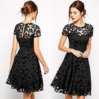 Halife Women Short Sleeve Pleated Lace Slim Dress