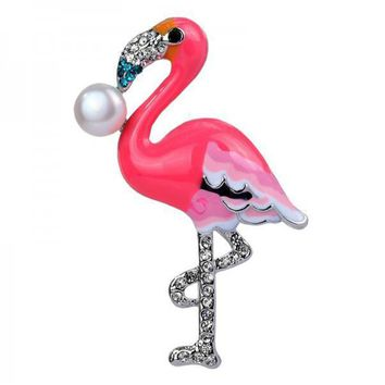 Exclusive Pink Flamingo With Pearl Brooch Pin
