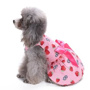 Pretty Pink Strawberry Dog Dress