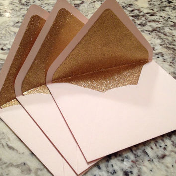 Luxe Blush A7 5x7 Gold Glitter Lined Envelopes - Pale Pink Paper Source Envelopes - Set of 10