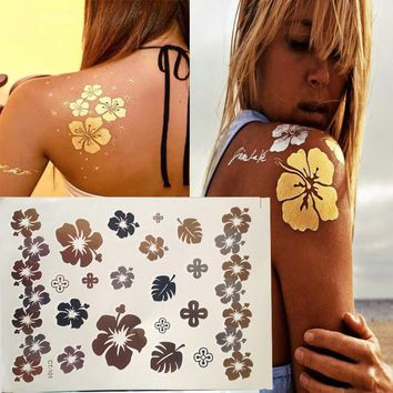 Hot Gold Sliver Flash Metallic Inspire Waterproof Tattoo   Henna Flowers Leaves Bracelet Temporary Tattoo Sticker Paper