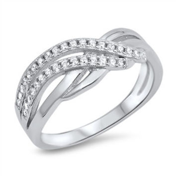 Sterling Silver CZ Simulated Diamond Infinity Fusion 7MM Ring