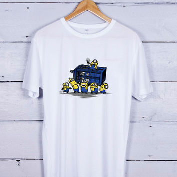 Minions Stealing Tardis Dr Doctor Who Tshirt T-shirt Tees Tee Men Women Unisex Adults