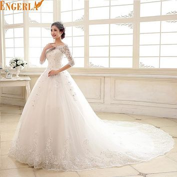 Vestido De Noiva 2016 3/4 Sleeved Luxury Wedding Dresses Bride Princess Royal Train Lace Elegant Wedding Gown