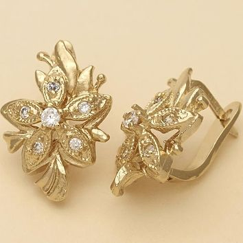 Gold Layered Women Flower Leverback Earring, with Dark Champagne Cubic Zirconia, by Folks Jewelry