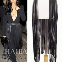 Hot Sexy Long Fringe Belt Faux leather belts for women Celebrity Ceinture Femme Tassels Buckle lucci belt extravagant accessorie