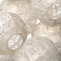 White Eyelet Paper Lantern String Lights