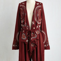 Boho Long Long Sleeve Flow One Better Cardigan in Maroon