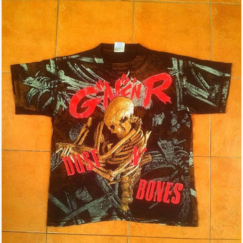 ON SALE Vintage 90s Rare Guns N Roses Dust N Bones Concert Tour Gnr Rock T Shirt L 1990's