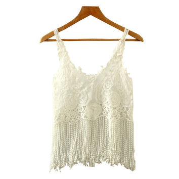 Summer Lace Crop Tops Tassel Chiffon Vest Crochet Hollowed Out Tank Tops = 4765280964