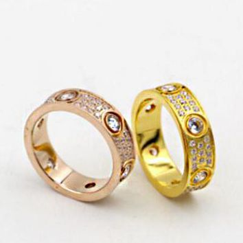 """Cartier"" Fashion Ladies Men Three Rows Of Drill Diamond Ring Stars Couple Ring Accessories"