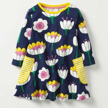 Baby Girl Dresses 2017 brand jumping meters flowers knitted pure cotton children Clothing long sleeve kids dresses 2-7T