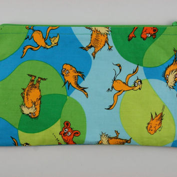 The Lorax pencil case, Dr Seuss, zip pouch, makeup bag, art supplies organiser, I speak for the trees.