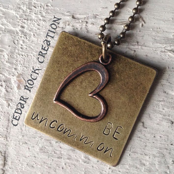 Hand Stamped Pendant With Heart Charm - BE uncommon