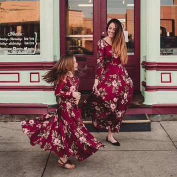 Long Sleeves Floral Print Dress Coordinating Mother Daughter Outfits