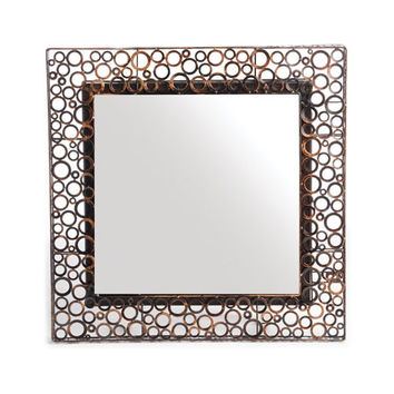 New Rustics Furniture Company PSMWMS Patina Metal Brown Square Metal Washer Mirror-Small