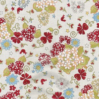 Fabric, Cotton Fabric, Quilt Fabric Riverwood by Troy, Glory Garden, 1/2 yard TRO-1351/2 Large floral on white, blue white, red green