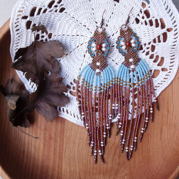 Long micro macrame earrings - Tassel Fringe Brown Blue White Unique