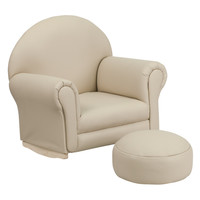 Kids Beige Vinyl Rocker Chair and Footrest