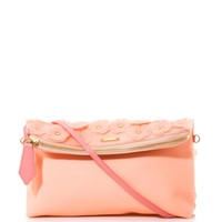 Soft rubber appliqué flower clutch bag