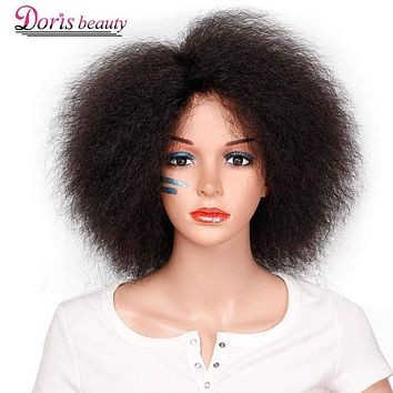 Synthetic Afro Wig for Women African Dark Brown Black Red Color Yaki Straight Short Wig Cosplay Hair