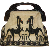 1950's Embroidered Purse - Cloth - Wooden Handle - Striped Lining - Made In Greece