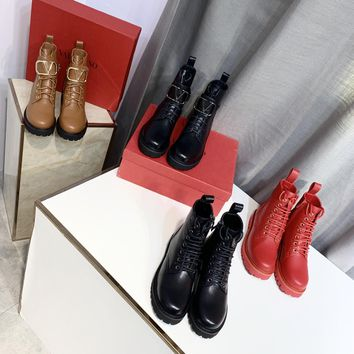 """Valentino New Latest Trending Women Black Brown """"Monogram Empriente"""" Leather Zipper Ankle Short Boots Flats High Heels Shoes Winter Autumn red"""