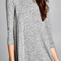 Round Neck Tunic Top - Gray