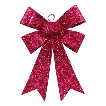 "7"" Cerise Pink Sequin and Glitter Bow Christmas Ornament"