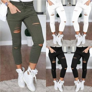 ESBC8S Women Ladies Denim Jeans Ripped Skinny Cut High Waisted Legging Skinny High Waist Stretch Ripped Slim Pencil Pants