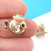 Small Fish Sea Animal Stud Earrings in Gold with Cute Hat