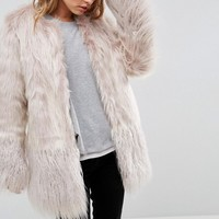 Urbancode Coat In Mongolian Faux Fur Mix at asos.com