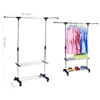 Portable One Rod Extendable Clothes Rack on Casters with 2 shelf tiers
