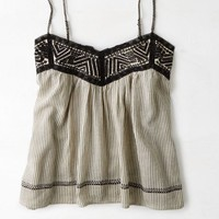 AEO Women's Embroidered Stripe Cami (Black)