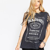 ASOS Tank Top in Jack Daniels Print with Fringed Sleeve
