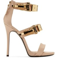 Nude Pink Leather Coline Stiletto Sandals