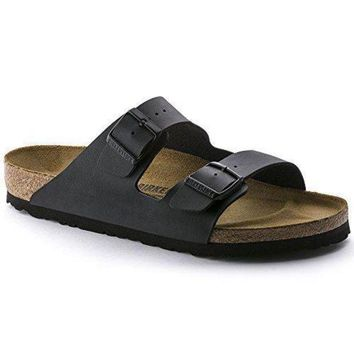 ONETOW Birkenstock Women's Arizona Birko-Flor Black Sandals (N)