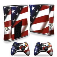 Mightyskins Protective Vinyl Skin Decal Cover for Microsoft Xbox 360 S Slim + 2 Controller skins wrap sticker skins American Pride