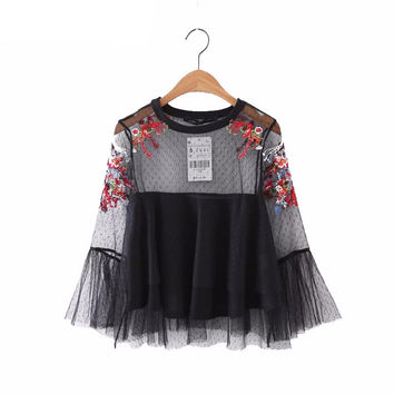 Embroidery mesh transparent blouse